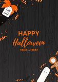 Festive Halloween flyer template. Top view on spiders, paper bats and confetti on dark wooden texture. Vector illustration with black gift box in the form of Stock Photography