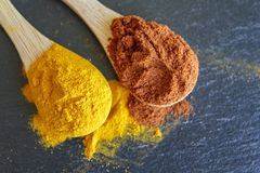 Top view of spoons with cayenne pepper and turmeric powder