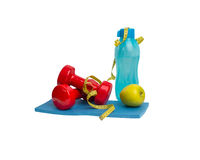 Top view sport equipment. Healthy life and healthy food concept Stock Image