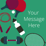 Top view of sport equipments on green desk Royalty Free Stock Images