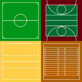 Top view of sport fields set Royalty Free Stock Photos
