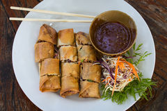 Top view of spring rolls Royalty Free Stock Photography