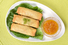 Top view of spring rolls. With plum sauce Stock Photography