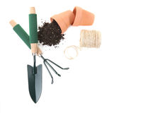 Top View of Springtime Gardening Tools royalty free stock images