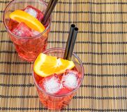 Top of view of spritz aperitif aperol cocktail with orange slices and ice cubes Stock Photo