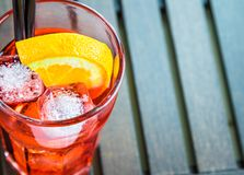 Top of view of spritz aperitif aperol cocktail with two orange slices and ice cubes Stock Image