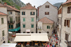 Top view on square of Boka Fleet in Kotor, Montenegro Royalty Free Stock Images