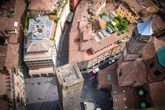 Bologna Old Town square. A top view of a square in Bologna Old Town Stock Photos