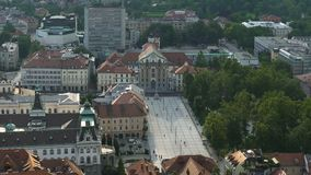 Top view of square in front of Ursuline Church, Slovenian landmark, tourism. Stock footage stock video footage