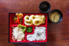 Top view Squid fried bento set ready to serve. Japanese food style. Royalty Free Stock Photography