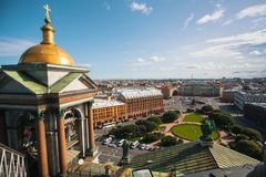 Top view from St.Isaac`s Cathedral in St. Petersburg. Royalty Free Stock Image
