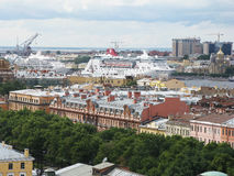 Top view of Saint Petersburg. Russia. View of Saint Petersburg from above. View of the big ships (large cruise liners). Tourism. Journey Stock Images