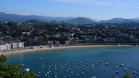 Top view of St Sebastian beach with boats stock video