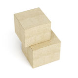 Top view of stack of cardboard boxes on white background. 3d ren Stock Photography