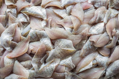 Top view stack of Sliced raw, Fresh fish after filleting Royalty Free Stock Photography