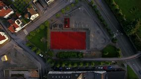 Top view of the stadium. In residential district of Stavanger, Norway stock footage