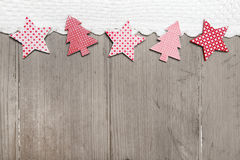 Top view of star and pine tree decoration with crochet strip Royalty Free Stock Image