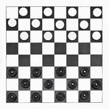 Top view of starting position on checkers board Royalty Free Stock Photo