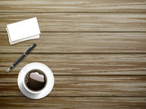 Top view of stationery and coffee Stock Photos