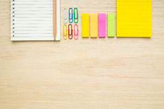 Top view of stationery items - notepad, notebook, sticky note, p Stock Photography