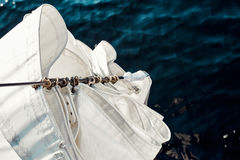 Top view staysail carbines on the bow Stock Images