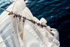 Top view staysail carbines on the bow Stock Photography