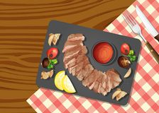 A Top View of Steak. Illustration Royalty Free Stock Photography