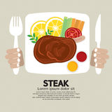 Top View Of Steak Plate. Stock Photo