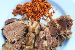 Top view steamed beef with galangal chili paste stock photography