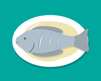 Top view Steamed Fish on white plate, vector Royalty Free Stock Images