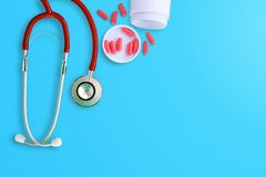 Top view stethoscope on blue background Royalty Free Stock Photography