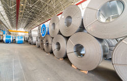 Top view of the stock rolls of sheet steel of company Stock Image