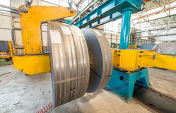 Top view of the stock rolls of sheet steel of company Royalty Free Stock Photo