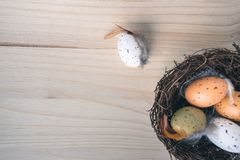 Top view of an Easter nest with orange and brown quail eggs decorations with feathers on wooden background. Top view of an straw Easter nest with orange and royalty free stock images