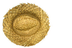 Top view of straw hat. On a white background Stock Images