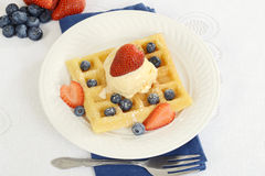 Top view strawberries blueberries ice cream waffles Royalty Free Stock Photos