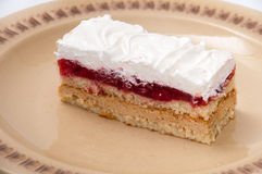 Top view of strawberry cake with white cream Royalty Free Stock Photography