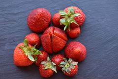 Close up top view of strawberry fruits royalty free stock photos