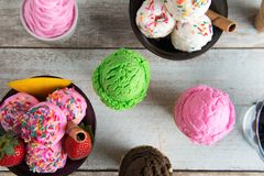 Various flavor ice cream bowl top view stock photo