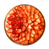 Top view of strawberry tart isolated on white Royalty Free Stock Photography