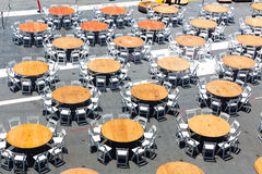 Top view of street cafe tables. Royalty Free Stock Images