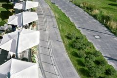 Top view of the street cafe and walkways in the park.  stock images