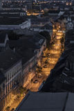 Top view of a street at night Royalty Free Stock Images