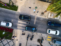 Top View of Street with Palm Trees in a Beach Royalty Free Stock Image