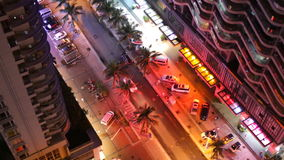 Top View of Street with Palm Trees of Chinese city. Night scene stock footage