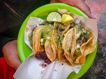 Top view of street tacos in Mexico City. An order of street tacos in Mexico City, Mexico. Point of view royalty free stock photo