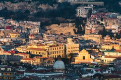 Top view of the streets of the historic center of Naples royalty free stock image