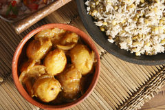 Top View of Stuffed Potatoes in Tamarind Sauce Stock Images
