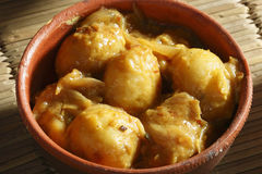 Top View of Stuffed Potatoes in Tamarind Sauce Stock Photos