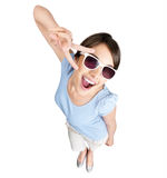 Top view of a stylish young female with sunglasses Royalty Free Stock Photos